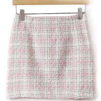 Pink Plaid Pencil Mini Skirt