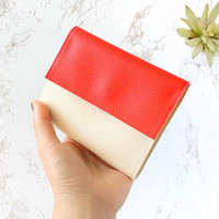 Small wallets for women, small leather wallet vegan, mini wallet, red wallet minimalist, small coin purse, compact wallet Personalized