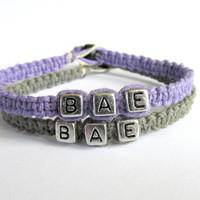 BAE Bracelets for Couples or Best Friends, Lavender and Grey Handmade Hemp Jewelry
