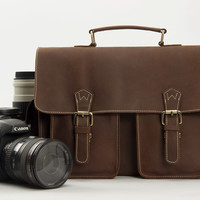 Vintage Leather DSLR Camera Bag in Coffee Brown