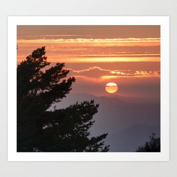 """""""Sun through the clouds and trees"""" Sunset at the mountains Art Print by Guido Montañés"""