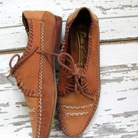 Vintage leather Moccasins. Lace up oxfords. Preppy boat chukka shoes. womens size 7