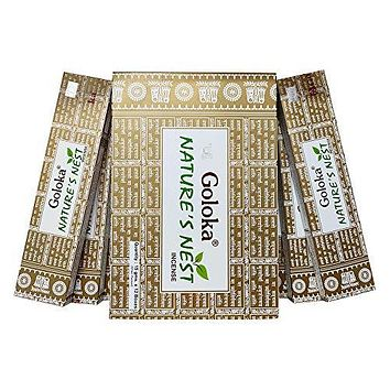 GOLOKA Nature Nest Agarbatti Pack of 12 Incense Sticks Boxes, 15 GMS Each, Traditionally Handrolled in India