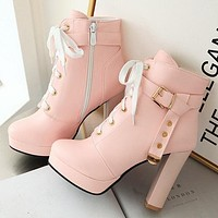 Boots high-heeled short boots women thick heels corn buckle women's shoes pink