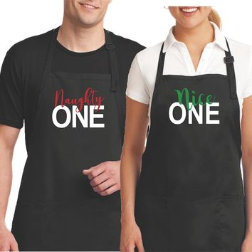 His and Her Funny Aprons - Matching Aprons for Couples