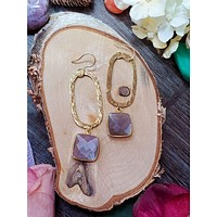 Chocolate Moonstone Dangle Earrings