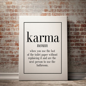 "Surreal art print name definition ""Karma"" Scandinavian Design Funny Decor Funny Poster Funny Wall Art Karma Definition Black And White"