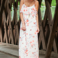 Elegant Bloom Maxi Dress, White-Neon Coral
