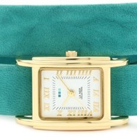 La Mer Collections Women's LMGB1000 Gold-Tone Watch with Three Interchangeable Leather Wrap Bands