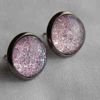 Pink Glitter Cabochon Earrings with Metallic Black Settings