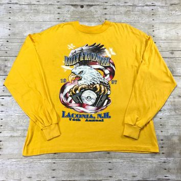 Vintage 1997 Laconia, N.H. Motorcycle Rally & Race Week Bald Eagle Shirt Made in USA Mens Size XL