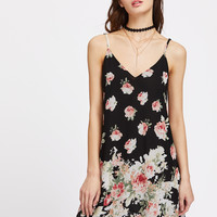 Black Rose Print Crisscross Back Swing Cami Dress