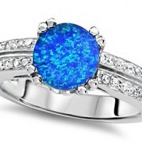 Star K Round 7mm Simulated Blue Opal Wedding Ring Sterling Silver Size 5
