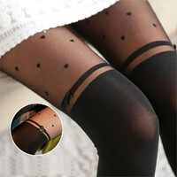 Sexy Bow Heart Pattern High Stocking Pantyhose Fashion Women's Tights Classical  Female Stocking 2016