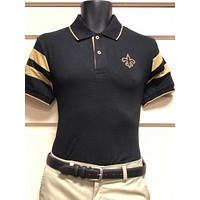 The Black and Gold Arm Stripe Polo Shirt