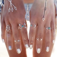 [ExcluSiva] 6PCS Vintage Turkish Beach Punk Moon Arrow Ring Set Ethnic Carved Silver Plated Boho Midi Finger Ring Knuckle Charm anelli