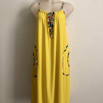 Vintage 1970s 'Rhapsody n' Robes' bright yellow, towelling shift dress with drawcord straps, patch pockets and striped trims