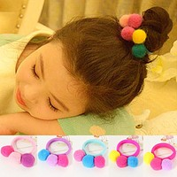 1PC Hairball Hair Rope Tie For Women Girls Children Lovely Delicate Colorful Elastic Kids Hair Band Hair Accessories