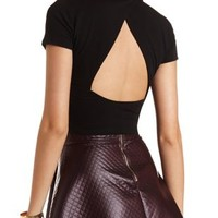 Black Cropped Cut-Out Mock Neck Top by Charlotte Russe