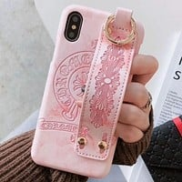 Chrome hearts Tide brand couple leather leather wristband set female iPhoneX mobile phone case pink