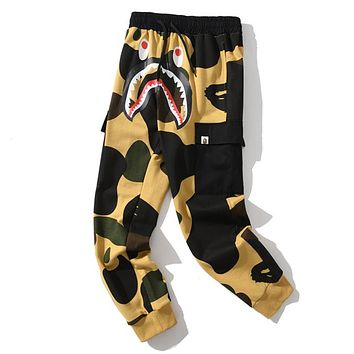 Bape shark camouflage couple trend trousers Yellow