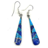 Artisana Turquoise and Lapis Tear Drop Earrings