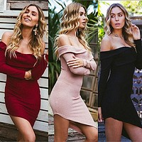 Winter Sexy Strapless Dress Women's Fashion One Piece Dress [11863305999]