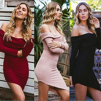Winter Sexy Strapless Dress Women's Fashion One Piece Dress [256906854426]