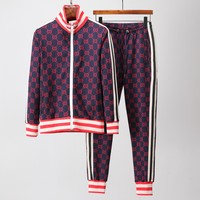GUCCI Tide brand men's casual fashion fitness sports suit two-piece red