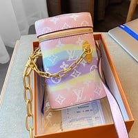 Onewel LV Louis Vuitton Phone Box chain phone bag gift box packaging colorful phone bag blue sky white Clouds pink