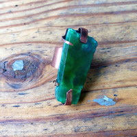 Organic Design Green Rough Agate Crystal Stone Ring set in Copper. Adjustable/ Boho/Statement/Healing/Strength