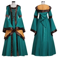 Custom Green Medieval Renaissance Victorian Dress Gown  Fantasy Cosplay Costume