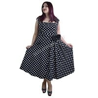 Plus Size 60's Vintage black and white polka Dot Belted Bow Swing Party Dress