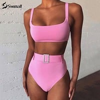 High Waist Bikini 2020 Belt Swimsuit Women, Scoop Neck Bandeau Bikini Set