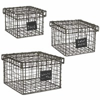 Wire Boxes with Chalkboard Tag - Set of 3