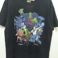 Vintage 90s Scooby Doo Adventure Horror Cartoons Anime Movie T-Shirt Large Size