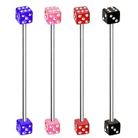 316L Industrial Barbell with UV Acrylic CZ Dice