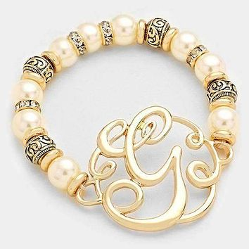 'G' Monogram Charm Pearl & Filigree Stretch Bracelet