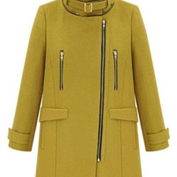 Yellow Longline Woolen Coat With Removable Hood - Choies.com