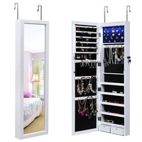 Lockable Jewelry Cabinet Wall Organizer with Mirror White