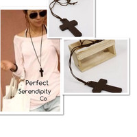 Wooden Prayer Cross Leather Necklace