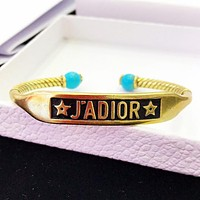 Dior New fashion letter star opening personality bracelet Golden