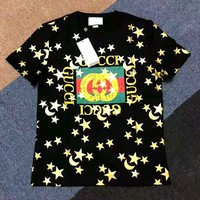 GUCCI 2019 new letter starlight crescent printing round neck casual T-shirt Black