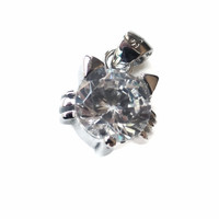 Sterling Silver and White CZ Small Cat Pendant