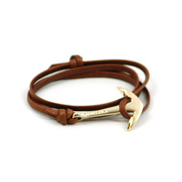 Gold Anchor Bracelet on Brown Leather by MIANSAI