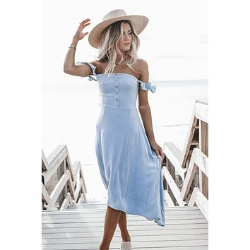 CHASER Powder Blue Hi-Lo Smock Dress