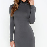 High Hopes Dark Grey Long Sleeve Bodycon Dress