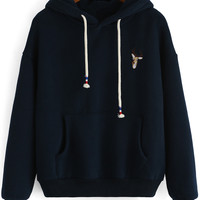 Navy Hooded Drawstring Deer Embroidered Sweatshirt