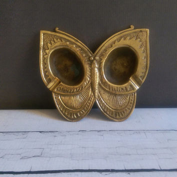 Vintage Brass Butterfly Ashtray/ Butterfly Ash Tray/ Vintage Brass Ashtray/ Antique Brass Tray