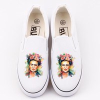 Personalized Frida Kahlo Printed White Canvas Shoes Women Flat Loafers Custom Mexican Artist Frida Kahlo Tenis Plaform Shoes
